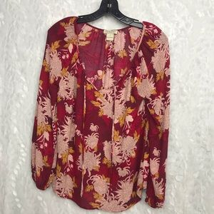 Lucky Brand boho red floral rayon tunic small
